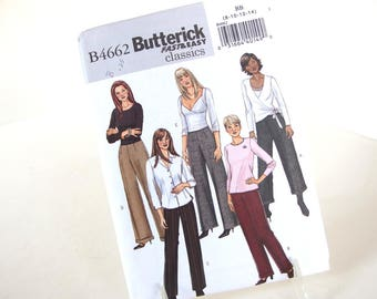 UNCUT Flared Pants Sewing Pattern, Butterick 4662, Size 8 to 14, Hips 33.5 - 38 Inches