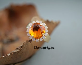 Swarovski Crystals Adjustable Fire Opal Orange Pink 12mm Cushion Cut Square Ring Gold Nickle Free ONLY PIECE