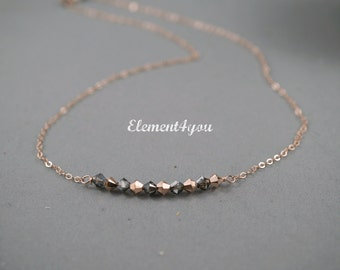 Rose gold necklace, Simple delicate jewelry, Swarovski silver night rose gold crystals, Crystal row, Everyday necklace, 14k rose gold filled