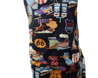 "US Handmande Apron With ""Route 66"" Retro Rockabilly Pattern, Cotton, Reversible Apron, ""2 APRONS IN 1"", Cotton, New"