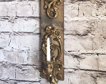 Gold candle sconce, Farmhouse candle sconce, farmhouse wall, gold and wood sconce,rustic sconce,wall candle holder, vintage sconce,gold wall