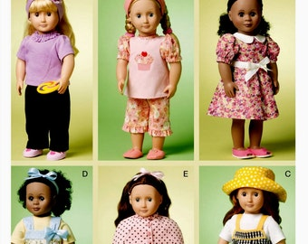 18 inch Doll Clothes Pattern, 18 inch Doll Dress  Pattern, 18 inch Doll Pajamas and Slippers Pattern, McCall's Sewing Pattern 6526