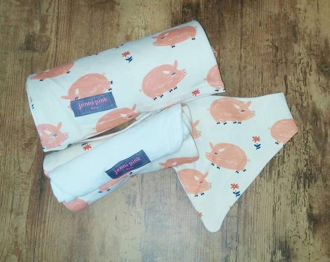 Pink Piggies Organic Cotton Baby Gift Set