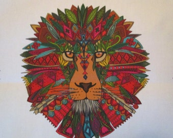 Linen Lion Fabric Quilt Block 8""