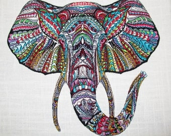 Majestic Elephant Large Embroidered Quilt Fabric Block Pillow Panel