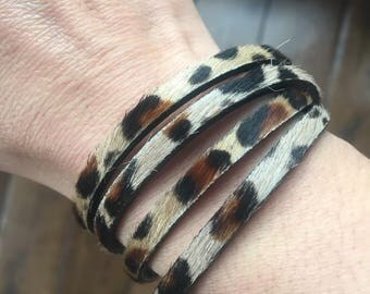 Leather Wrap Bracelet - Leopard Print Leather Wrap Bracelet - Double Wrap Leather Bracelet - Antique Gold Magnetic Closure Bracelet