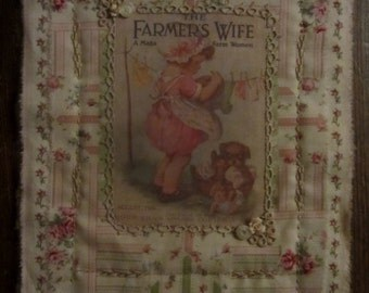 Vintage Lace Rose Ticking Mini Quilt Collage Farmers Wife Magazine Ad Clothes Line