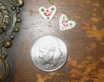 Vintage Guilloche Rose Heart Dresden Enamel Cabochon Set of 2 White Tiny
