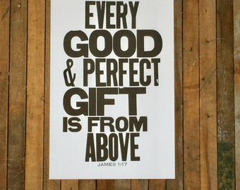 Religious Nursery Art James 1:17 Every Good and Perfect Gift is from Above Letterpress Print Bible Verse Black White Art Baby Nursery Sign
