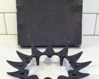 "Dansk ""Star Burst"" Candle Holder of Black Wrought Iron with Original Box"