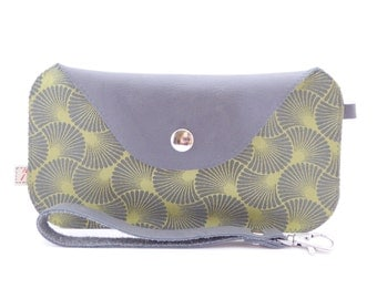Leather and Silk Wristlet / Passport Bag / Leather and Silk Wallet / Vietnamese Silk and Argentine Leather / One of a Kind
