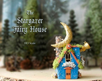 The Stargazer Fairy House - Blue Fairy Cottage with Telescope, Stars, Witch Seat, Crescent Moon & Blooming Flower Boxes