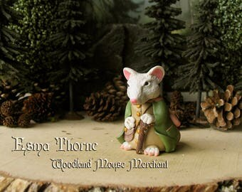 Esma Thorne - Merchant of the Muridae Market - White Mouse Figurine with Walking Stick - Forest Woodland Mouse - Polymer Clay Sculpture