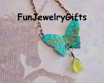 """BUTTERFLY: Hand-painted Summer Azure Butterfly with Wire-Wrapped faceted Lemon Quartz Gemstone, 16"""" Necklace"""