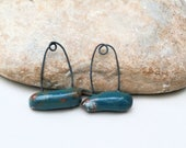 2 charms - handmade ceramic clay supply for earrings - turquoise blue - modern tribal ethnic