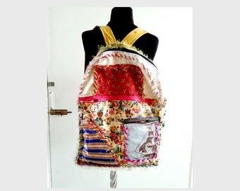 Travel Backpack, Art patchwork backpack, Shabby rag Bohemian bag, Large Handmade bag