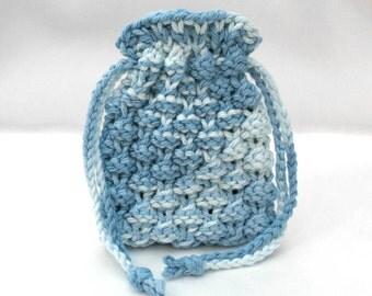 Soap Saver Bag, Knit Soap Sack, Small Drawstring Pouch, Blue Soap Bag, Bath Accessory Gift