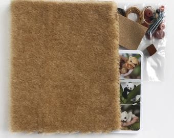 Sewing teddy bear KIT, BEIGE fabric, set of bear making supplies, fabric for making teddy, glass eyes, ultra suede, threads, disc joint