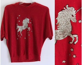 Vintage unicorn shirt. Glitter. 1980s batwing sweater. 80s. Red. Short sleeve. Fantasy. Novelty.