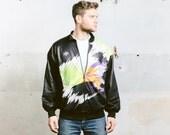 Mens 80s BOMBER Jacket . Vintage 1980s Black Colourful ARCADE Jacket Insulated Outerwear Coat Boyfriend Jacket . size Large to XL