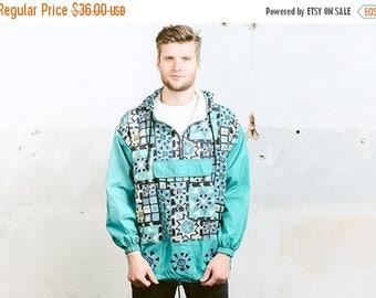 WEEKEND SALE . Vintage Shell Jacket . 80s Windbreaker Rain Jacket Festival Coat Outerwear Mens Coat Bold Sports Jacket Activewear . size Med