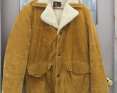 1960S  70s SIR JAC  fleece and plaid Lined\ Corduroy Jacket  / Coat Vintage 70s   Western  sz 36