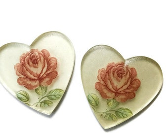 Vintage Hearts Cabochons 24mm Mirrored Rose valentines Day Cabs Roses NOS. #1261