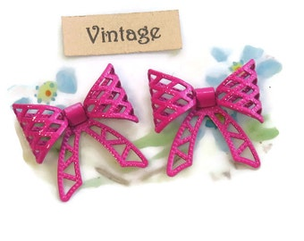 Pink Metal Bows, Bow Findings, Hot Pink Bow Connectors, Vintage Pink Bows, Vintage Bow Beads, Enamel Metal Bows, Pink Fastenables, 1109J