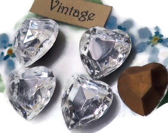 15/14mm Vintage Hearts Rhinestones Glass Crystal Faceted Rhinestone Heart Pointed Foil Back Czech Gold NOS (1307H)