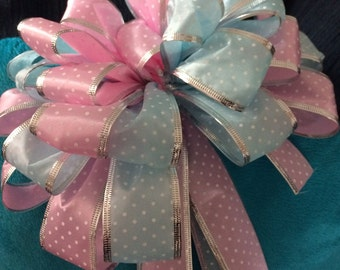 Easter Big Bow Unisex Baby Shower Decor Silver Eige Pastel Blue Pink Polka Dotted Door Wreath Party Decor Mother's Day