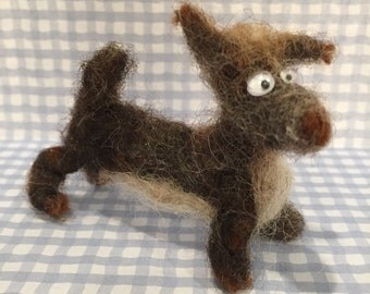 Stuey felted wool dog puppy miniature