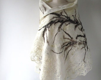 Felted scarf White wrap White wool scarf White lace stole Natural wool shawl Wedding lace stole Cruelty Free scarf  by Galafilc