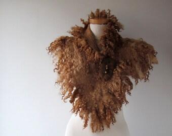 Fur collar Curly Felted collar Brown felt collar  Brown Beige Fur scarf  Pure Wool Fleece real fur scarf Felt necklace