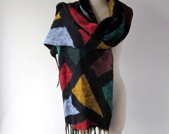 Felted scarf, geometric colorful Wool felt scarf fringe scarf rainbow felted scarf women scarf mosaic by Galafilc