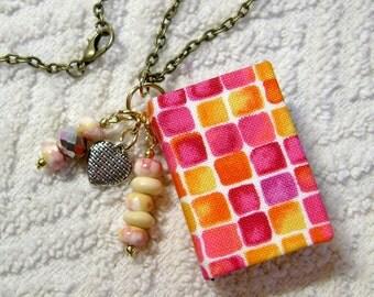 Best Teacher Gift - Handmade Book Necklace - Book Jewelry - Book Pendant - Book Journal - Handmade Book - Checkered Fabric - BN-62