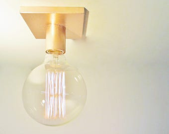 Minimalist Copper or Brass Exposed Bulb Flush Mount Ceiling Light or Wall Sconce -The Cole
