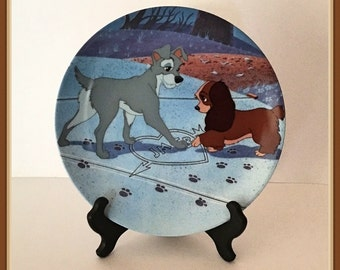 "Walt Disney Lady and the Tramp Plate, ""Puppy Love"", Knowles China, Bradex No. 84 K41 98.2, Plate Hanger Included, Vintage 1992"