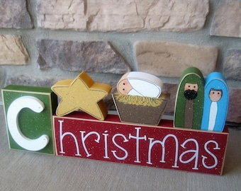 CHRISTMAS BLOCKS with manger and baby Jesus for desk, shelf, mantle, holiday, December, xmas, noel, home decor