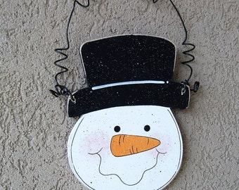 HANGING SNOWMAN HEAD for wall, door, tree, holiday, December, xmas, noel, Winter and home decor