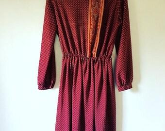 SALE 70s Ruby Red Dress • Bohemian Dress • Retro 1970s Dress