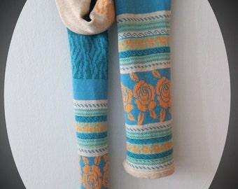 Knit Rose Scarf- long in pastels wool - KNIT MYSTIQUE