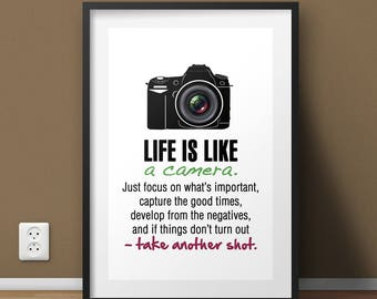 Life Is Like A Camera, Motivational Wall Art Print, Camera Poster Art Print, Inspirational Quote Poster, Positive Typography Wall Art