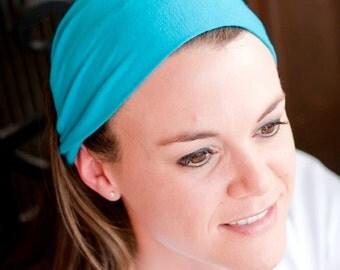 Soft Headbands, Turquoise Headband, Yoga Headwrap, Cloth Head Wrap, Aqua Soft Headwrap (#1017) S M L X