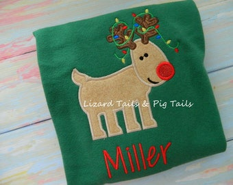 Boys Christmas Rudolph Shirt - Rudolph Red Nose Reindeer Shirt - Christmas Shirt with Lights