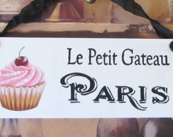 Cupcake Kitchen Decor Set, Shabby Chic Paris Cupcake Sign, French Kitchen Decor, Le Petit Gateau, French Bakery Sign, Wall Art, Cottage