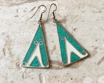 Vintage Silver Alpaca Mexico Earrings / Turquoise Triangle Dangle Earrings / Boho