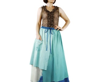3 Tone Skirt...Triple Layer Light Mint Green/ Mint Green / Dark Blue Light Cotton Lawn Skirt With 1 Patched Pocket - Size 10 To Size 18