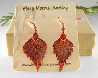 Copper Dipped Birch Leaf Earrings