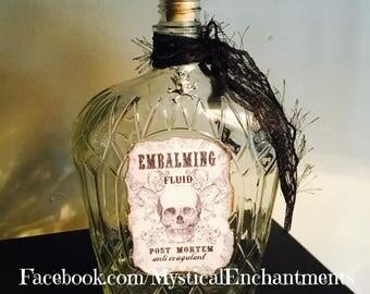 LARGE Embalming Fluid Glass Bottle