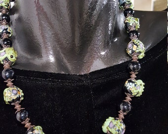 Glass frog bead necklace